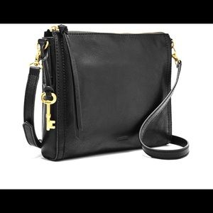 Fossil Leather Crossbody Emma Collection in Black